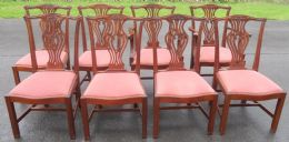 Set of Eight Mahogany Chippendale Style (Six +Two) Dining Chairs